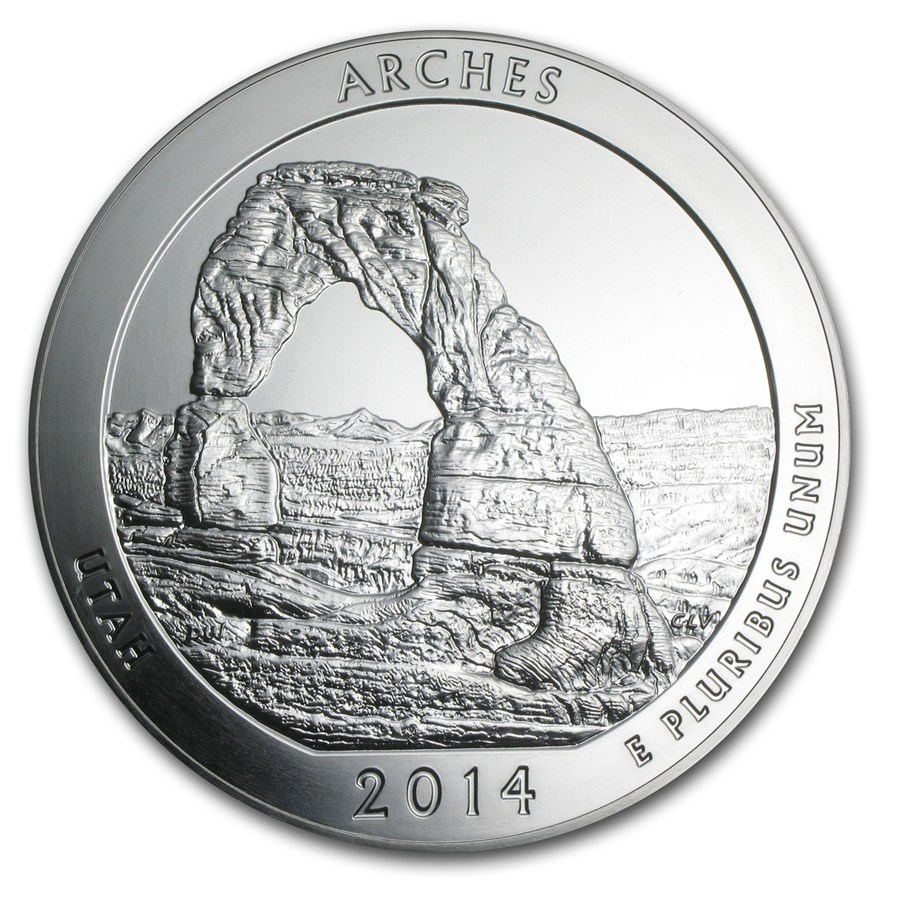 Pre-Owned 2014 ATB Arches 5oz Silver Coin - VAT Free