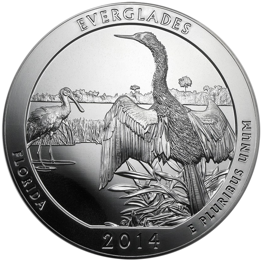 Pre-Owned 2014 ATB Everglades National Park 5oz Silver Coin - VAT Free