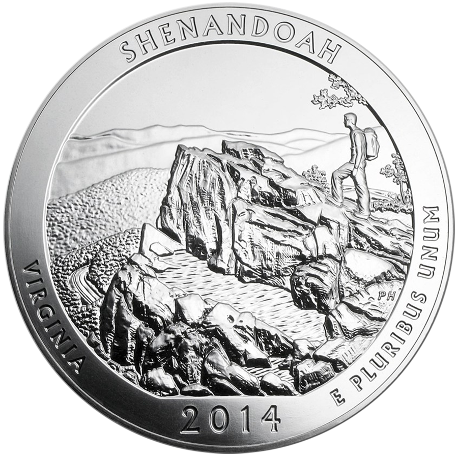 Pre-Owned 2014 ATB Shenandoah National Park 5oz Silver Coin - VAT Free