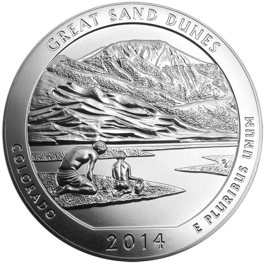Pre-Owned 2014 ATB Great Sand Dunes National Park 5oz Silver Coin - VAT Free
