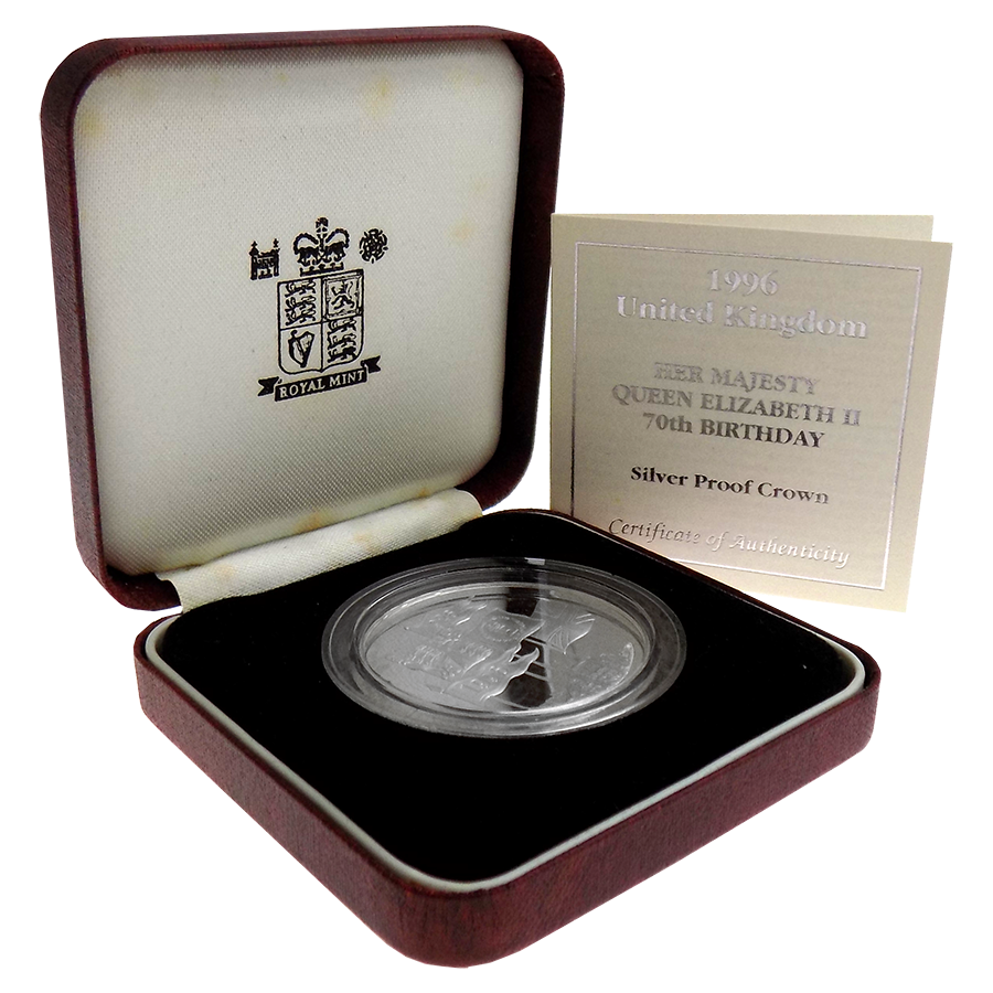 Pre-Owned 1996 UK Her Majesty Queen Elizabeth II 70th Birthday Silver Proof £5 Coin - VAT Free