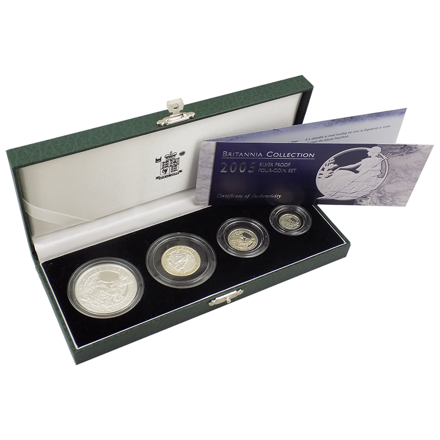 Pre-Owned 2005 Britannia Silver Proof Four-Coin Collection - VAT Free
