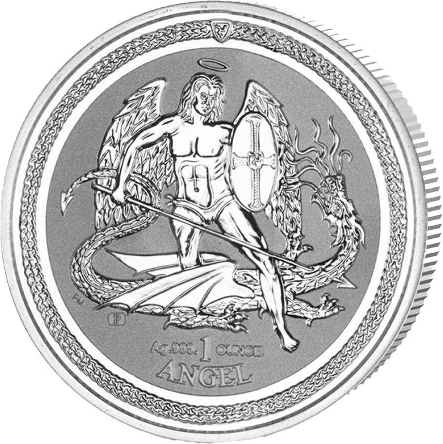 xx Pre-Owned 2016 Isle of Man Angel Reverse Proof 1oz Silver Coin - VAT Free (Image 1)