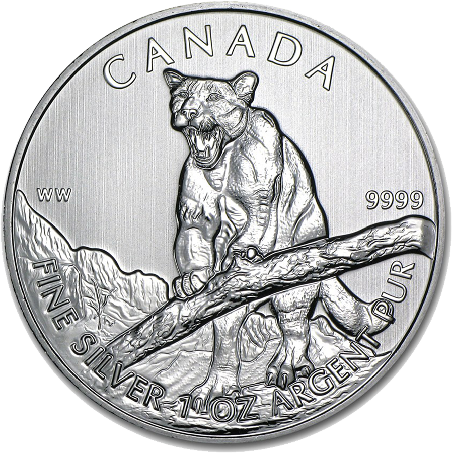 Pre-Owned 2012 Canadian Growling Cougar 1oz Silver Coin