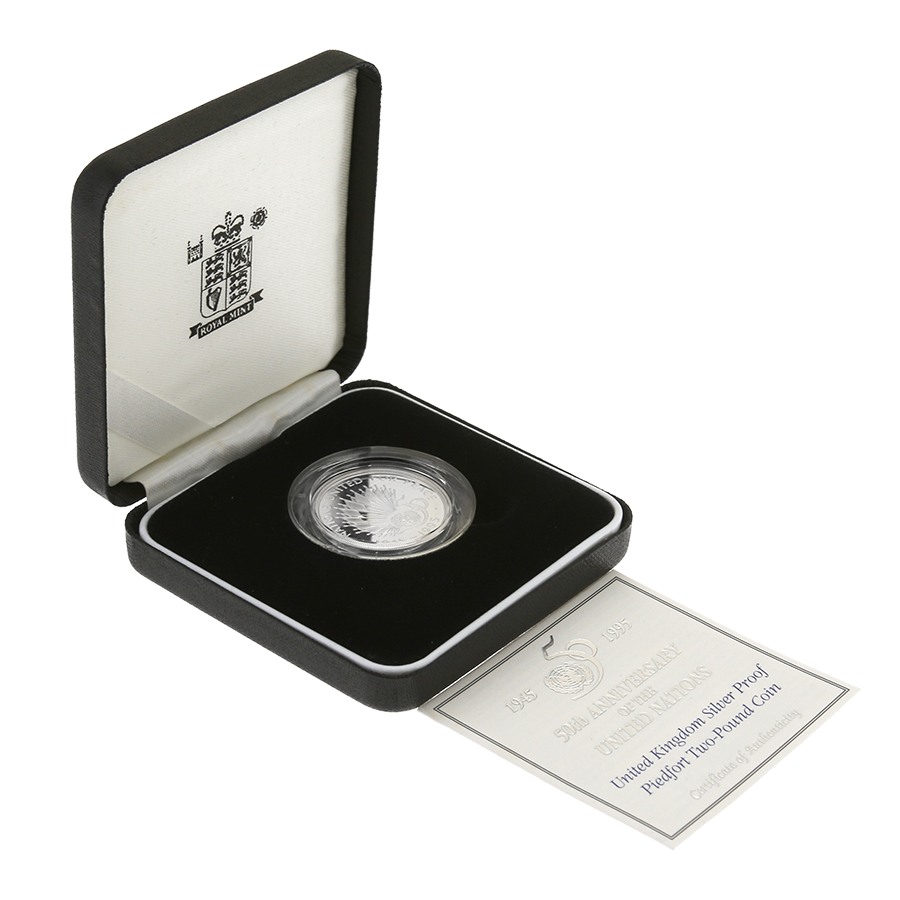 Pre-Owned 1945-1995 UK 50th Anniversary of United Nations Silver Piedfort Proof £2 Coin - VAT Free