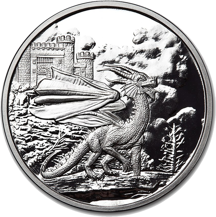 Celtic Lore Welsh Red Dragon 5oz Silver Proof Round Bullion