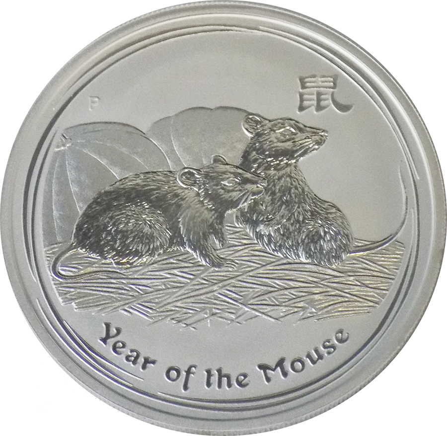 Pre-Owned 2008 Australian Year of the Mouse 1oz Silver Coin - VAT Free