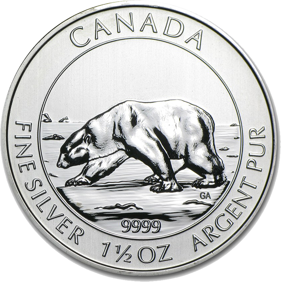 Pre-Owned 2013 Canadian Polar Bear 1.5oz Silver Coin - VAT Free