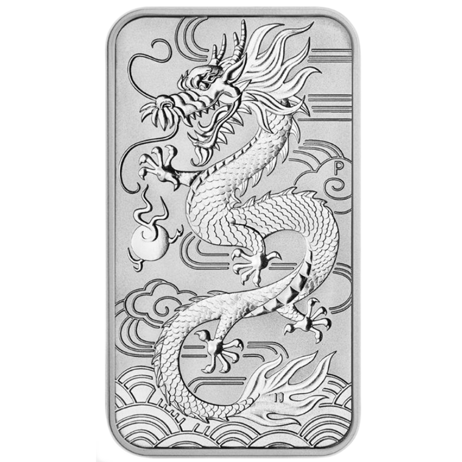2018 Australian Dragon Rectangular 1oz Silver Coin