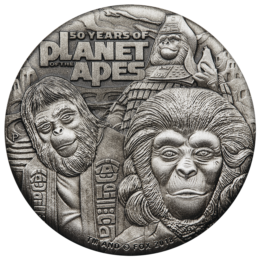 2018 Tuvalu Planet Of The Apes 50th Anniversary 2oz Silver Coin