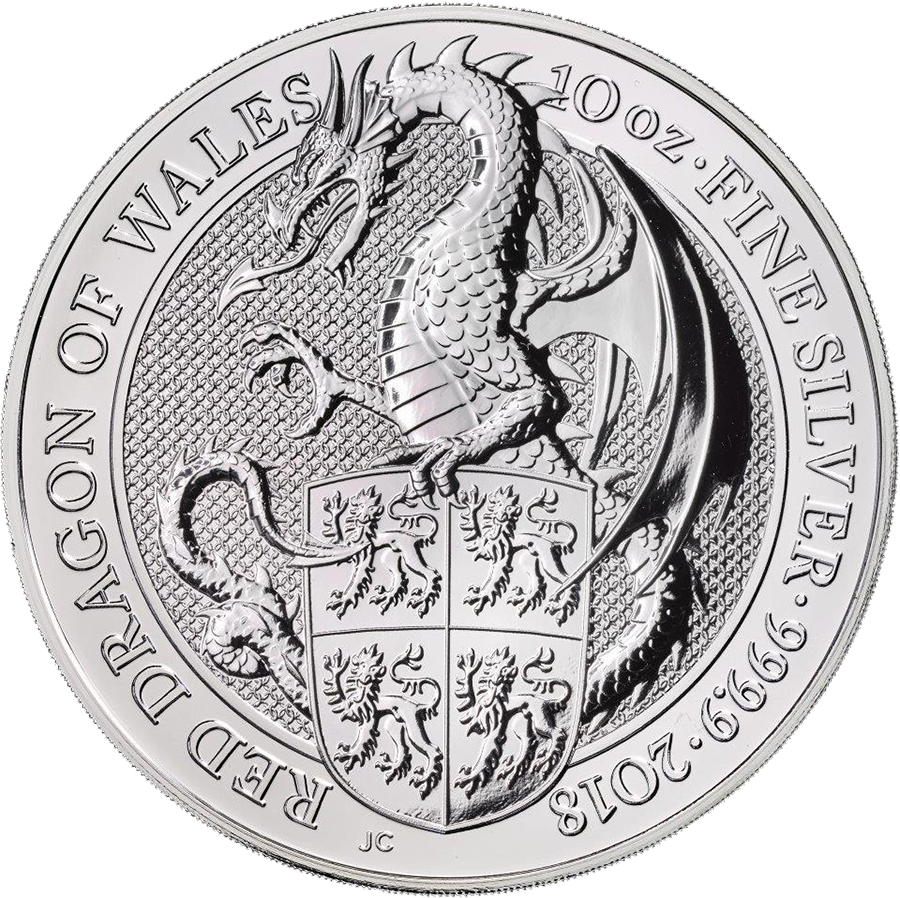 2018 UK Queen's Beasts The Dragon 10oz Silver Coin