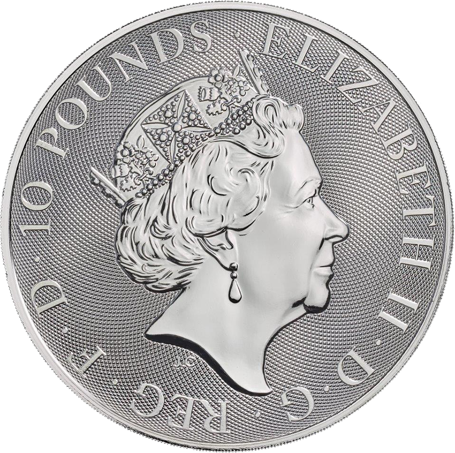 2018 UK Queen's Beasts The Dragon 10oz Silver Coin (Image 2)