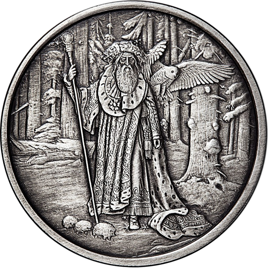 Celtic Lore: Merlin Antique 5oz Silver Round