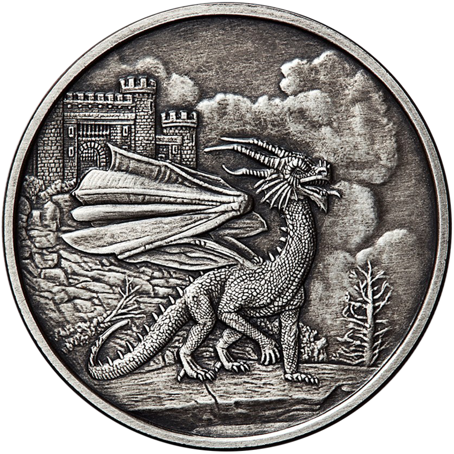 Celtic Lore: Welsh Red Dragon Antique 5oz Silver Round