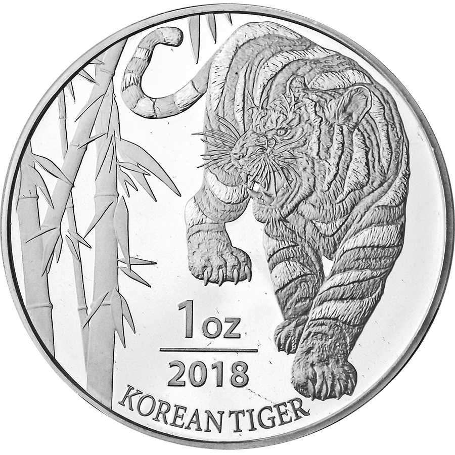 2018 South Korea Tiger 1oz Silver Round