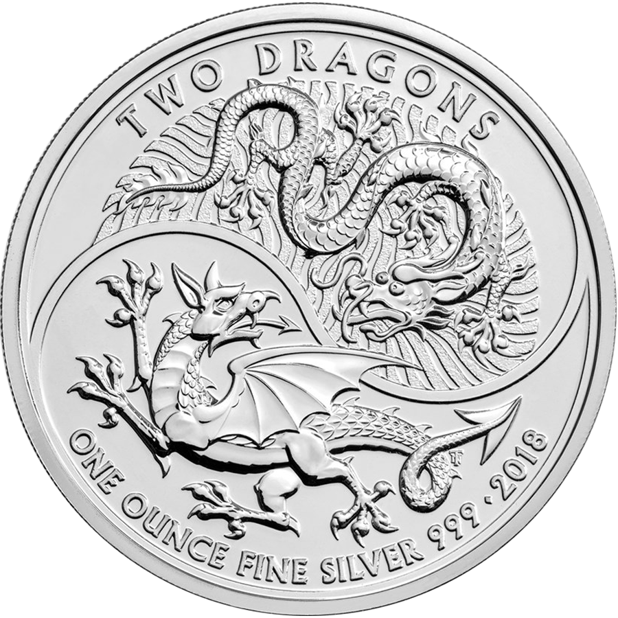 2018 UK Two Dragon 1oz Silver Coin