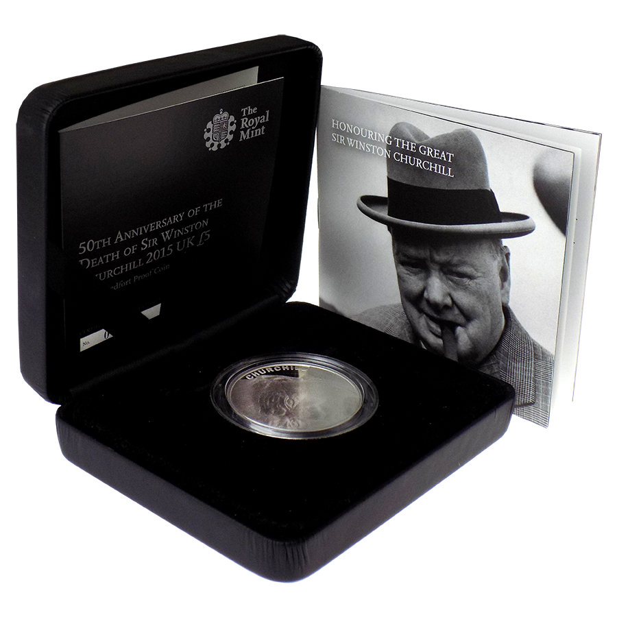 Pre-Owned 2015 UK Death of Winston Churchill £5 Piedfort Proof Silver Coin - VAT Free