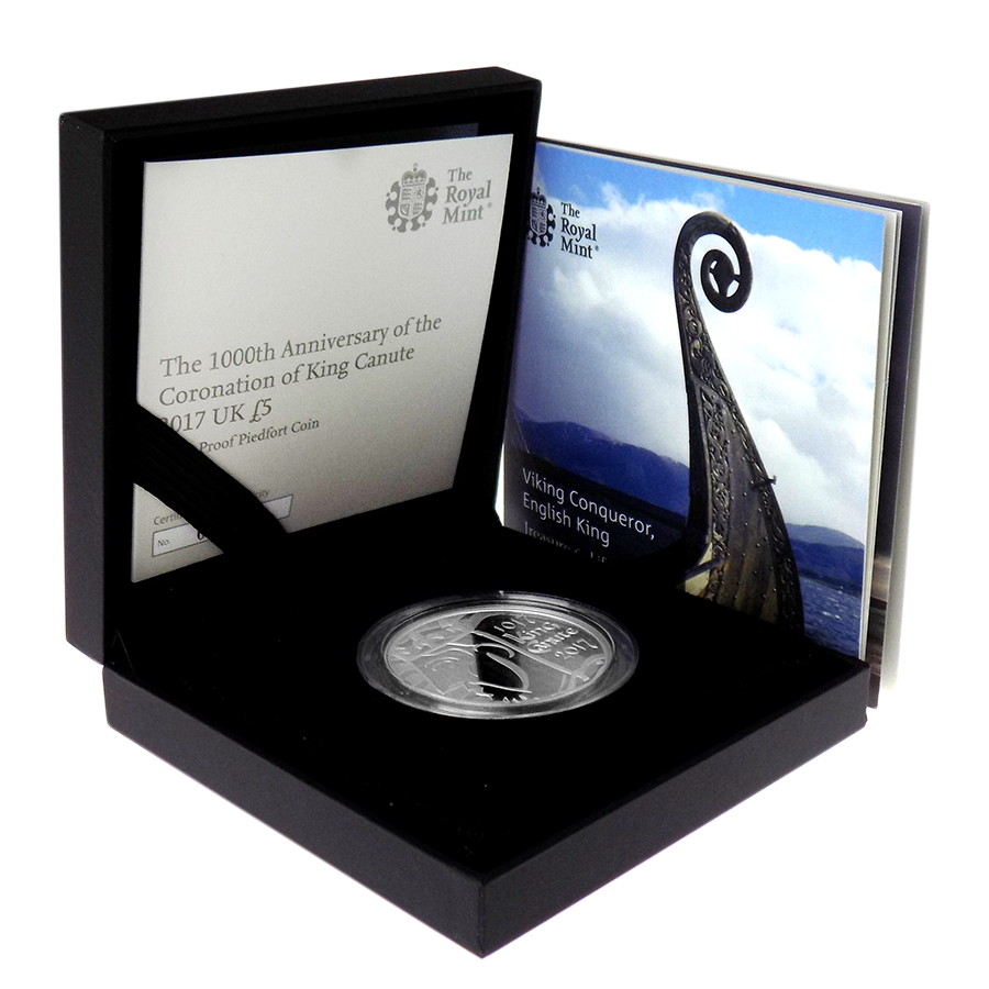 Pre-Owned 2017 UK 1000th Anniversary of the Coronation of King Canute £5 Silver Piedfort Proof Coin-