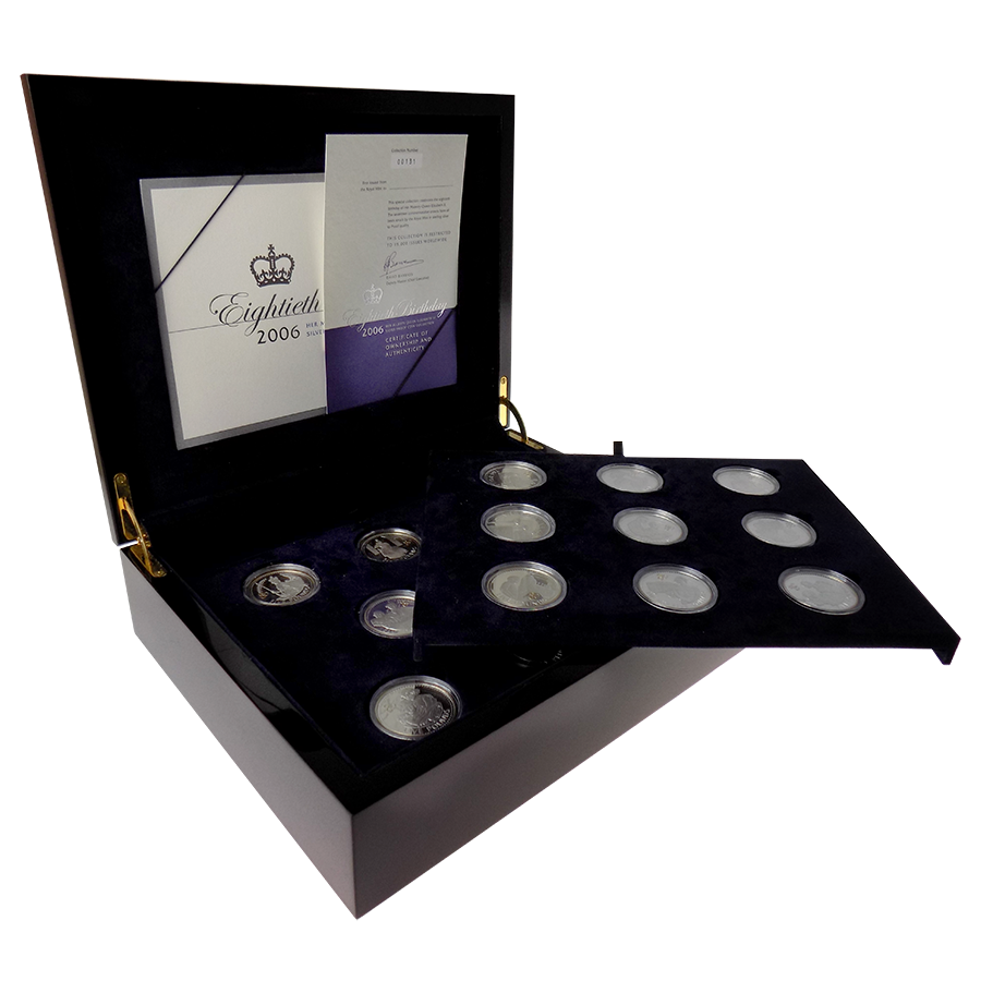 Pre-Owned 2006 UK Queen Elizabeth II 80th Birthday Crown Silver Proof 17-Coin Collection - VAT Free (Image 1)