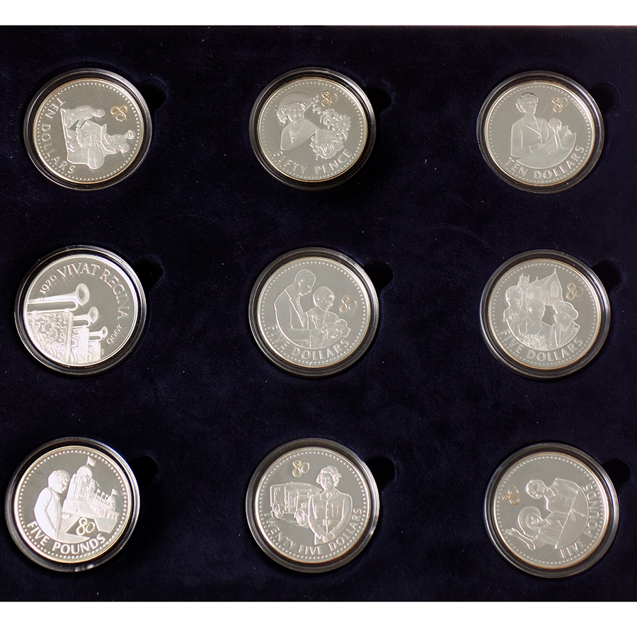 Pre-Owned 2006 UK Queen Elizabeth II 80th Birthday Crown Silver Proof 17-Coin Collection - VAT Free (Image 2)
