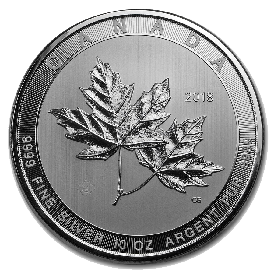 2018 Canadian Magnificent Maple Leaves 10oz Silver Coin