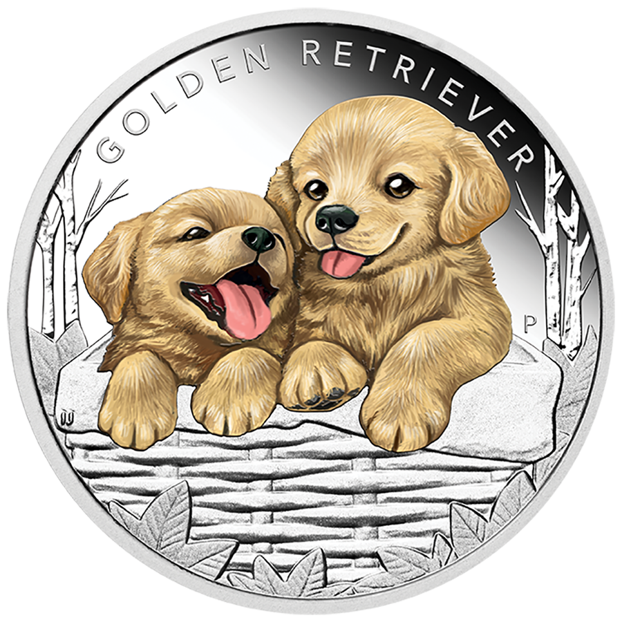 2018 Australian Puppies Series: The Golden Retriever 1/2oz Silver Proof Coin