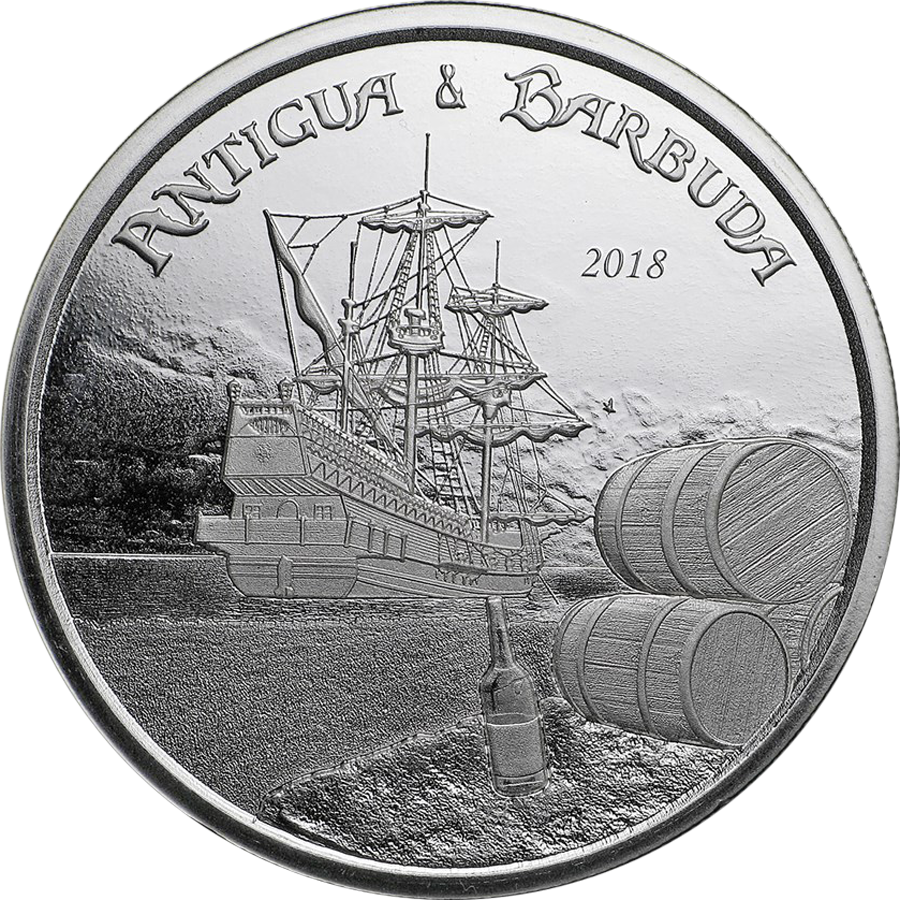 2018 Antigua & Barbuda 1oz Silver Rum Runner Coin