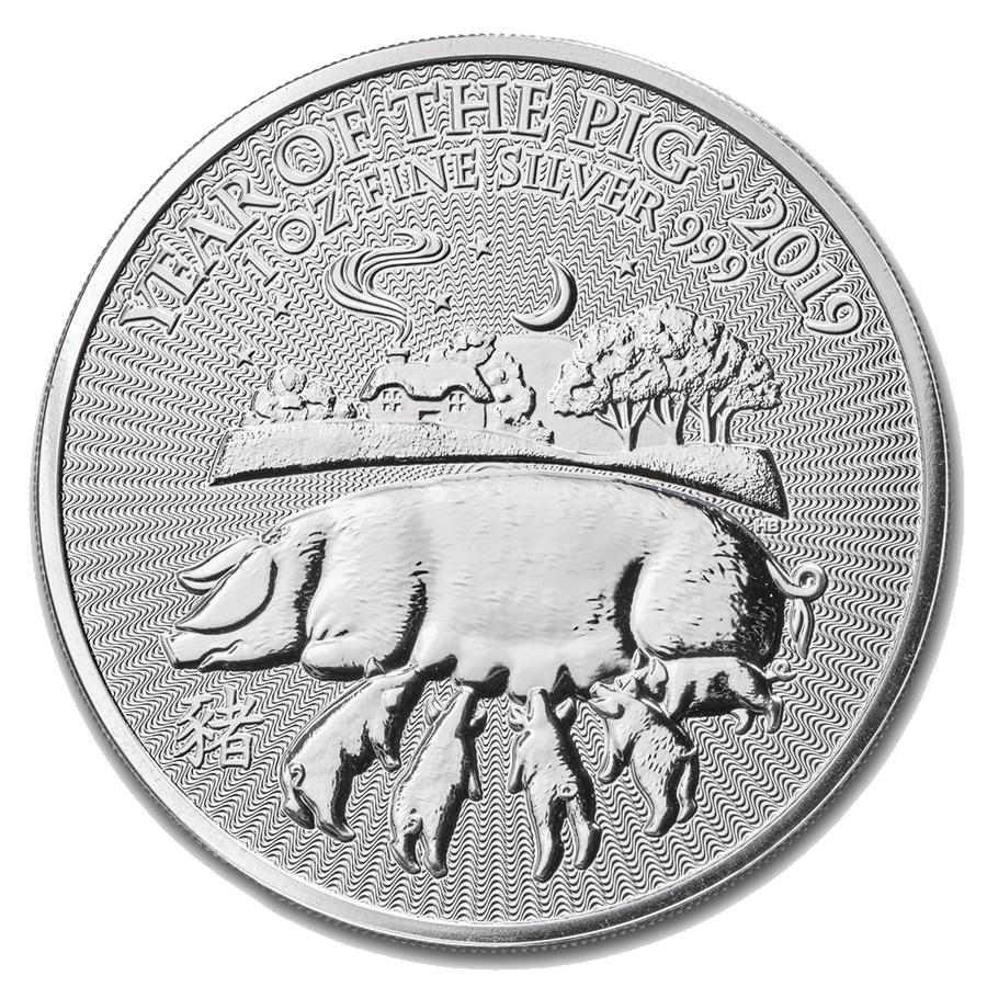 2019 UK Lunar Pig 1oz Silver Coin (Image 1)