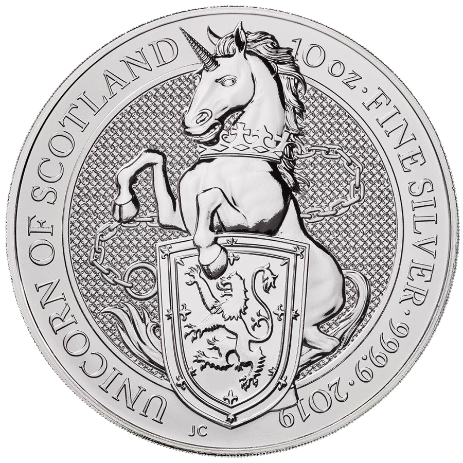 2019 UK Queen's Beasts The Unicorn 10oz Silver Coin