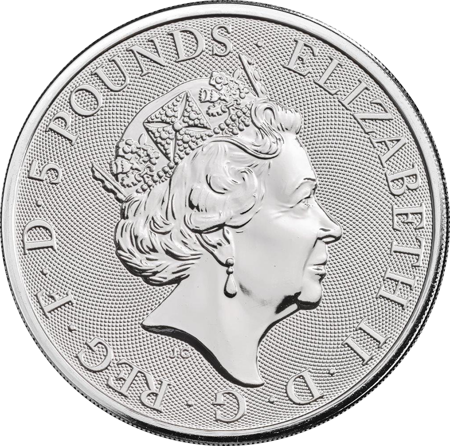 Pre-Owned 2018 UK Queen's Beasts Black Bull of Clarence 2oz Silver Coin - VAT Free (Image 2)