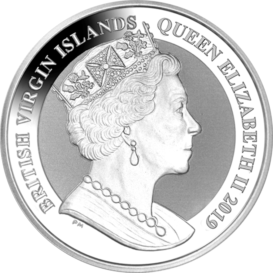 2019 British Virgin Islands Una & The Lion 2oz Silver Frosted Coin (Image 2)