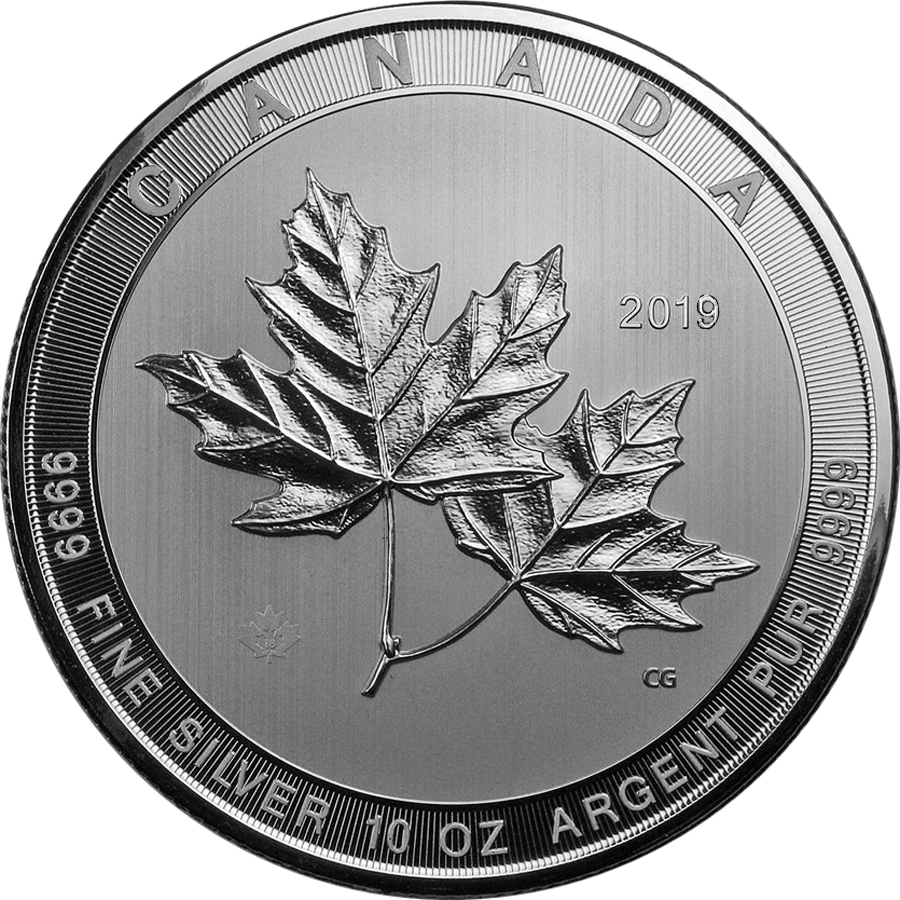 2019 Canadian Magnificent Maple Leaves 10oz Silver Coin