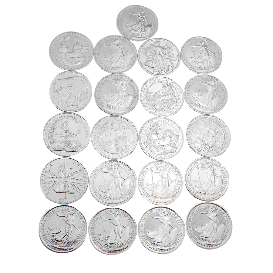Pre-Owned UK Britannia 1oz Silver 21 Coin Collection from 1998 to 2018 - VAT Free