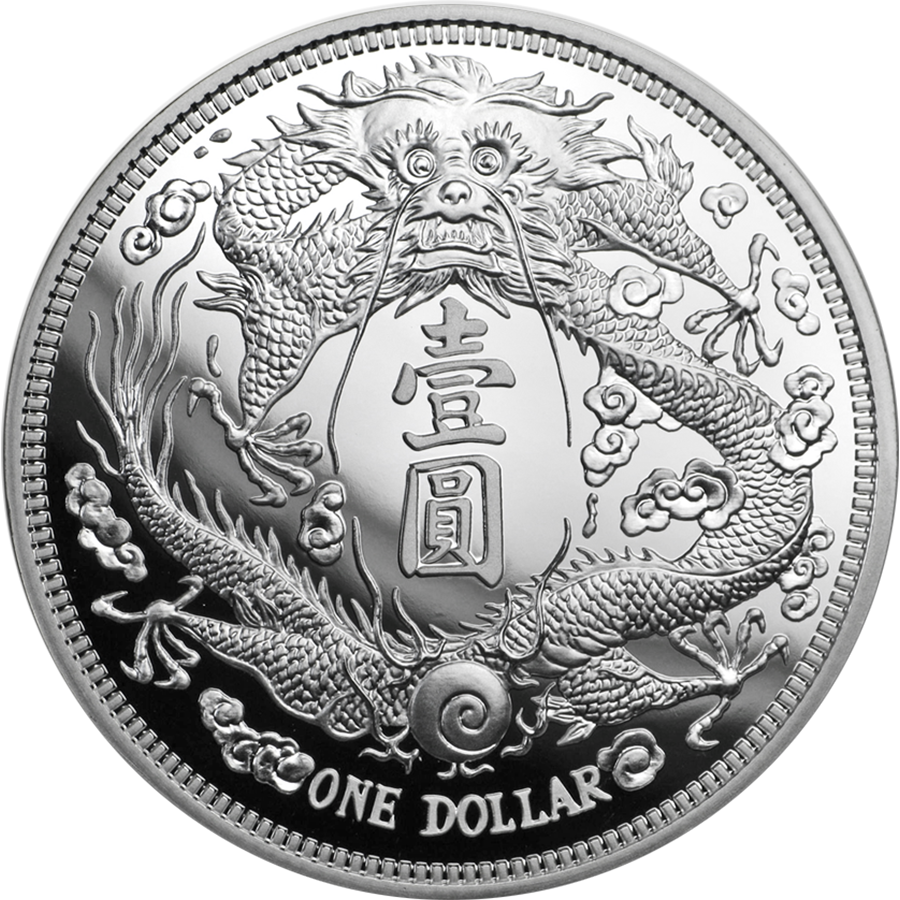 2019 Chinese Long-Whiskered Dragon Dollar Restrike 1oz Silver Coin