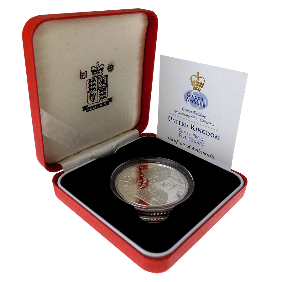 Pre-Owned 1997 Golden Wedding Anniversary Silver Proof £5 Coin - VAT Free