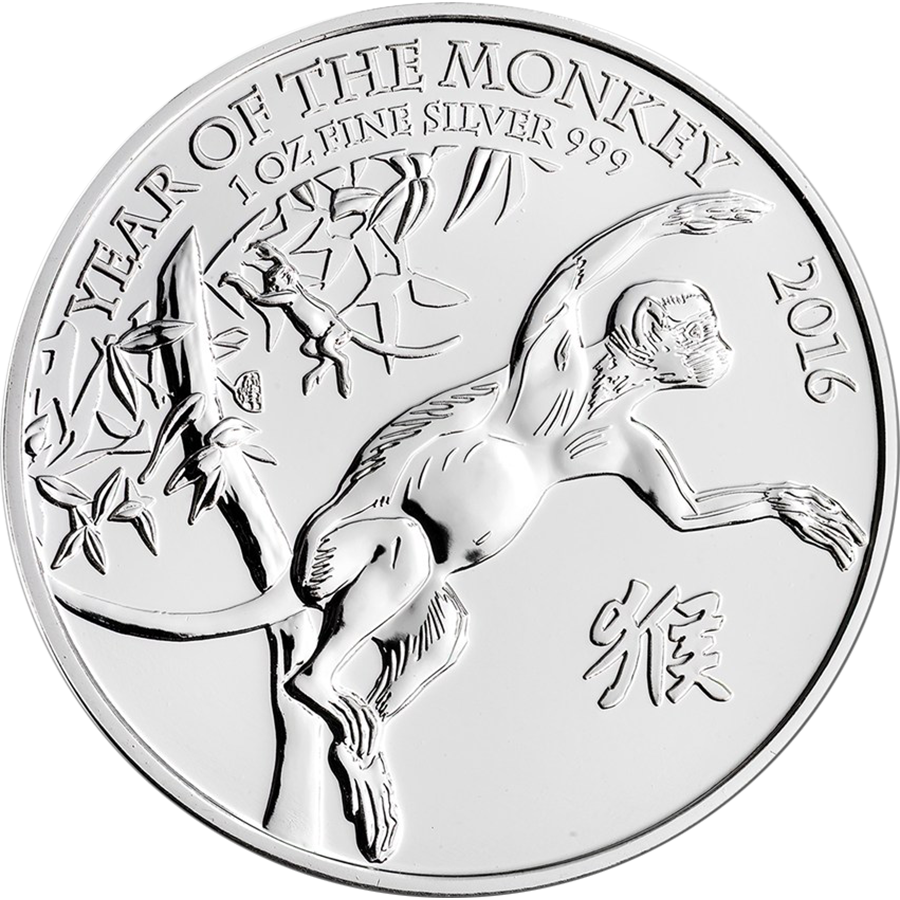 2016 UK Lunar Monkey 1oz Silver Coin (Image 1)