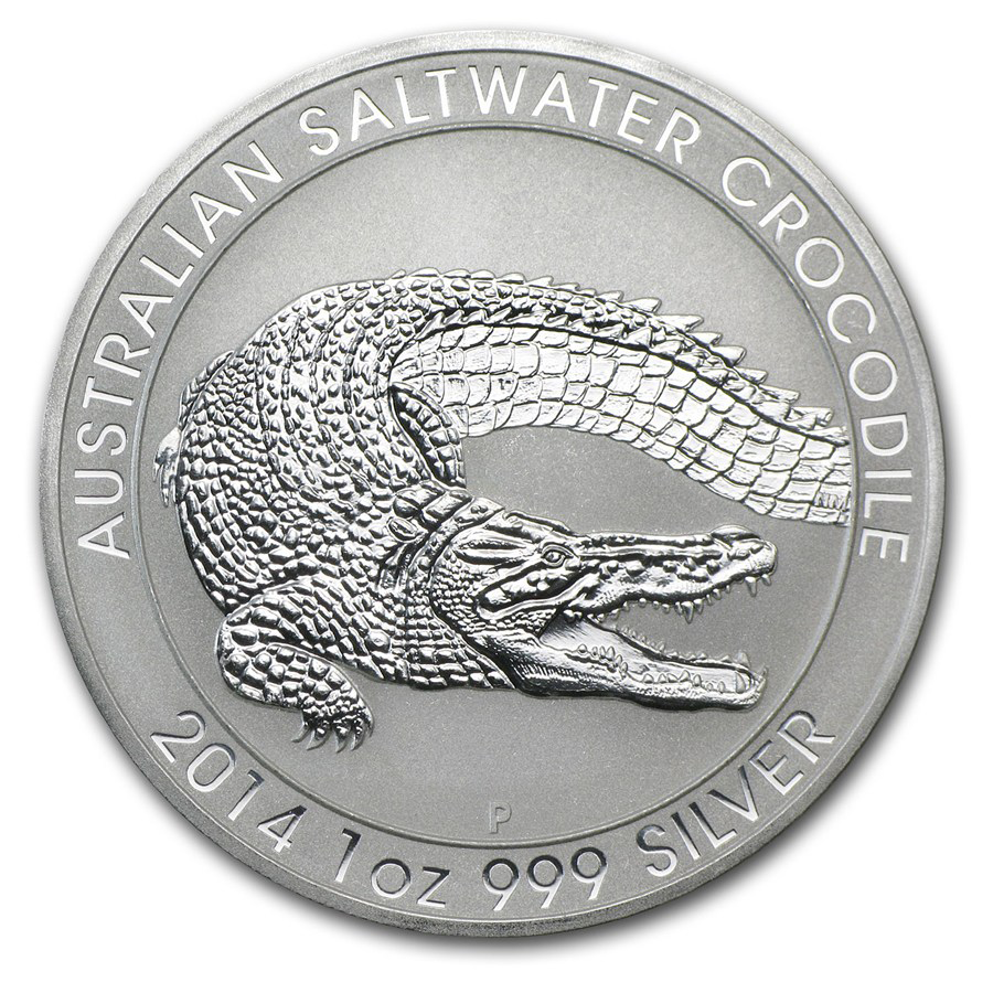 Pre-Owned 2014 Australian Saltwater Crocodile 1oz Silver Coin - VAT Free