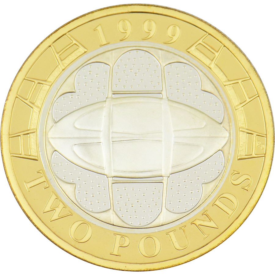 Pre-Owned 1999 UK Rugby World Cup Silver Proof £2 Coin - VAT Free (Image 3)
