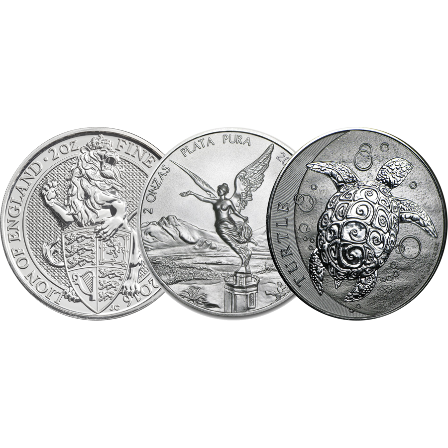 Pre-Owned 2oz Silver Coins - VAT Free
