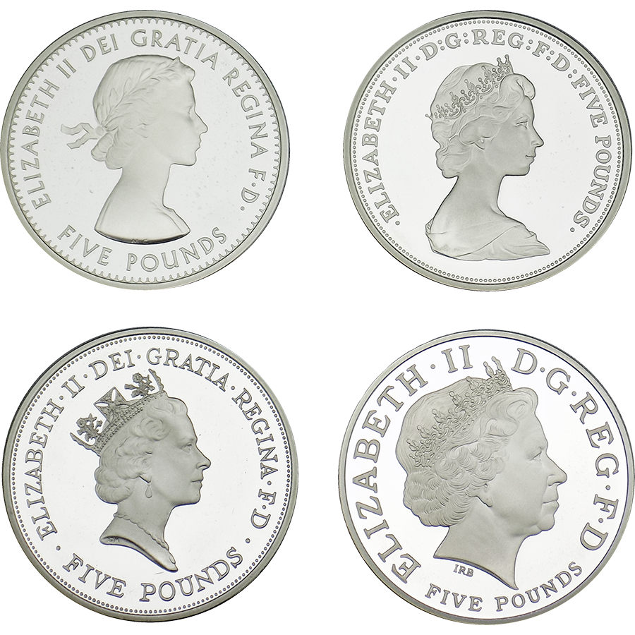 Pre-Owned 2013 The Queen's Portrait £5 Silver Proof 4 Coin Set - VAT Free (Image 2)