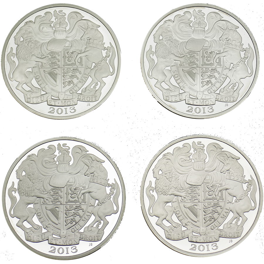 Pre-Owned 2013 The Queen's Portrait £5 Silver Proof 4 Coin Set - VAT Free (Image 3)