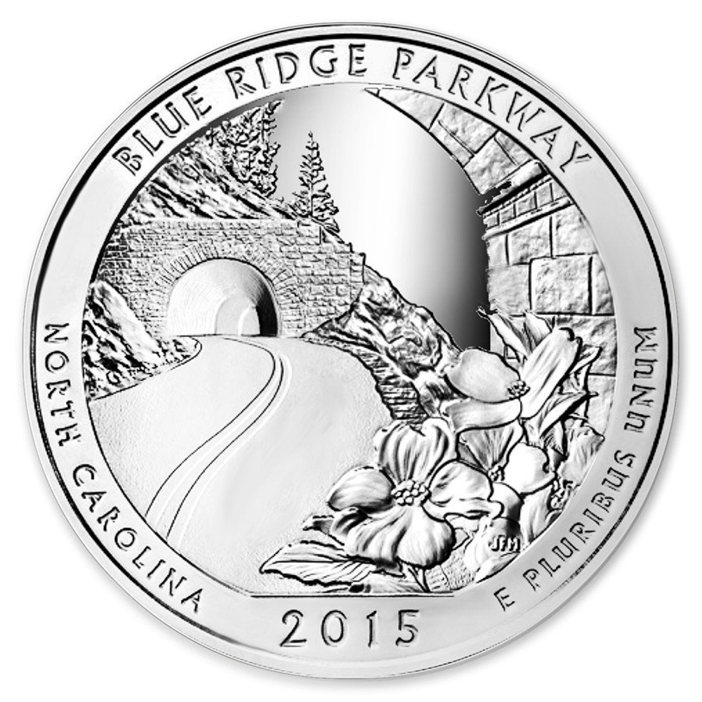 Pre-Owned 2015 ATB 'Blue Ridge National Parkway' 5oz Silver Coin - VAT Free