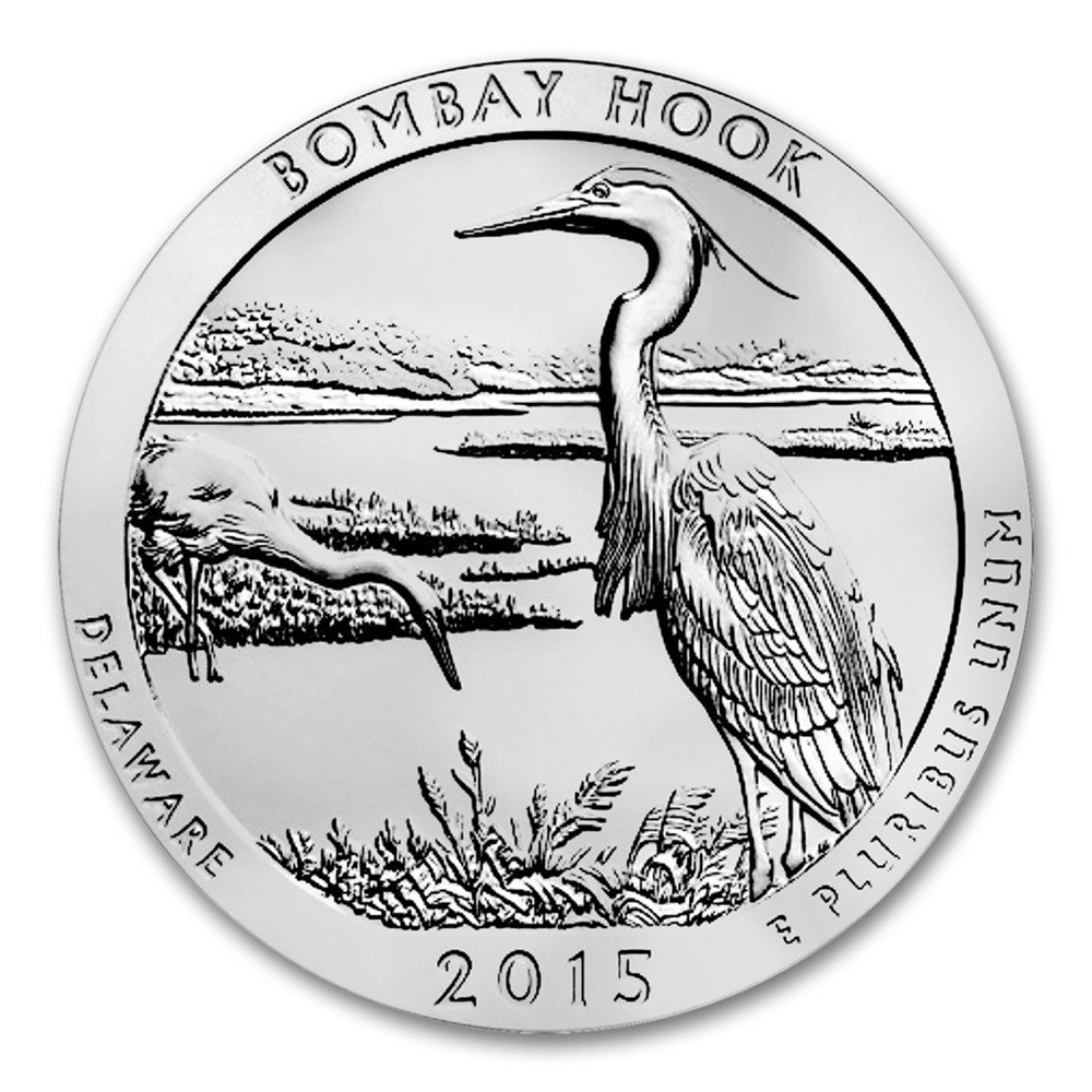 Pre-Owned 2015 ATB Bombay Hook 5oz Silver Coin - VAT Free