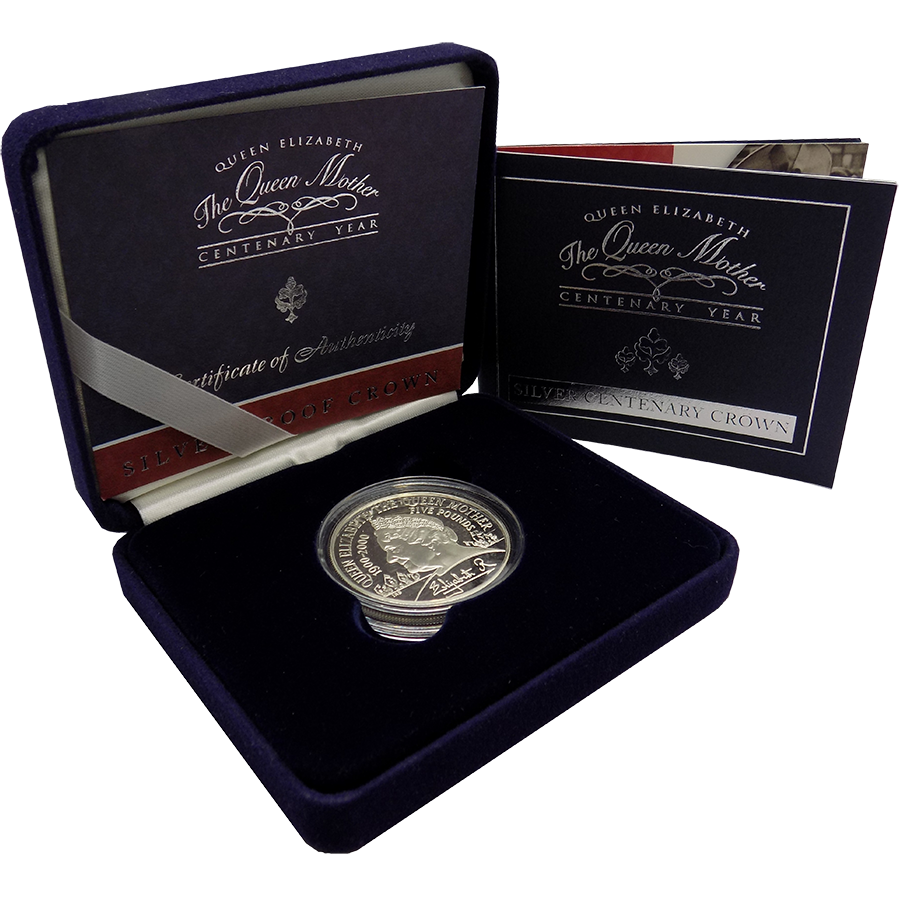 Pre-Owned 2000 UK The Queen Mother Centenary Year £5 Proof Silver Coin - VAT Free