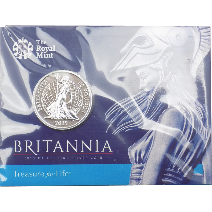 Pre-Owned 2015 UK Britannia £50 Fine Silver Coin - VAT Free