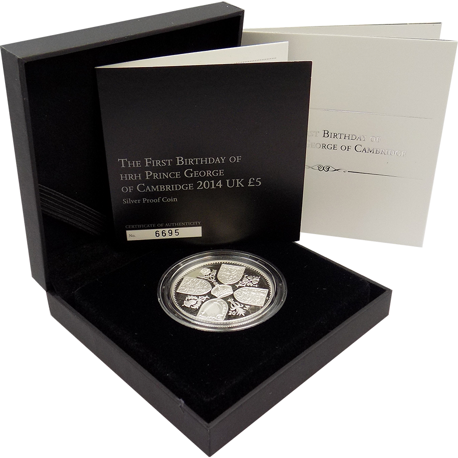 Pre-Owned 2014 UK First Birthday of Prince George £5 Silver Coin - VAT Free (Image 1)