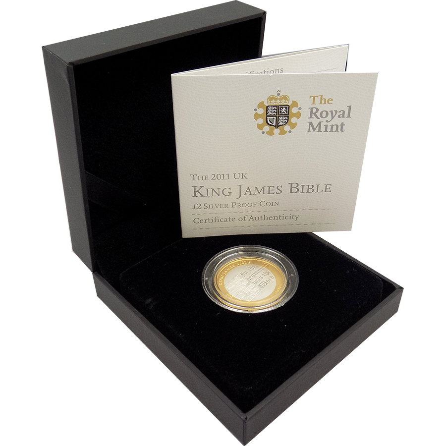 Pre Owned 2011 UK King James Bible 2 Silver Proof Coin