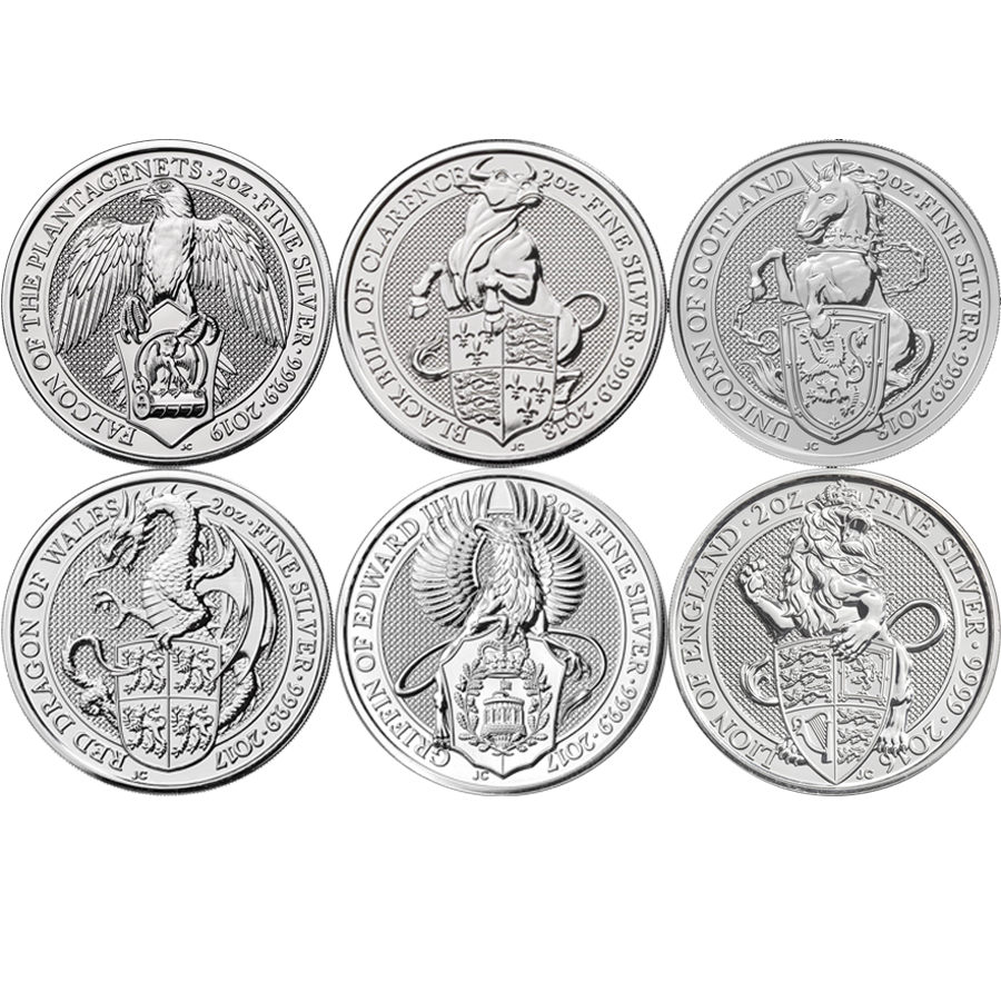 2016-2019 Queen's Beasts Lion, Griffin, Dragon, Unicorn, Bull & Falcon 2oz Silver Coins - Boxed (Image 2)