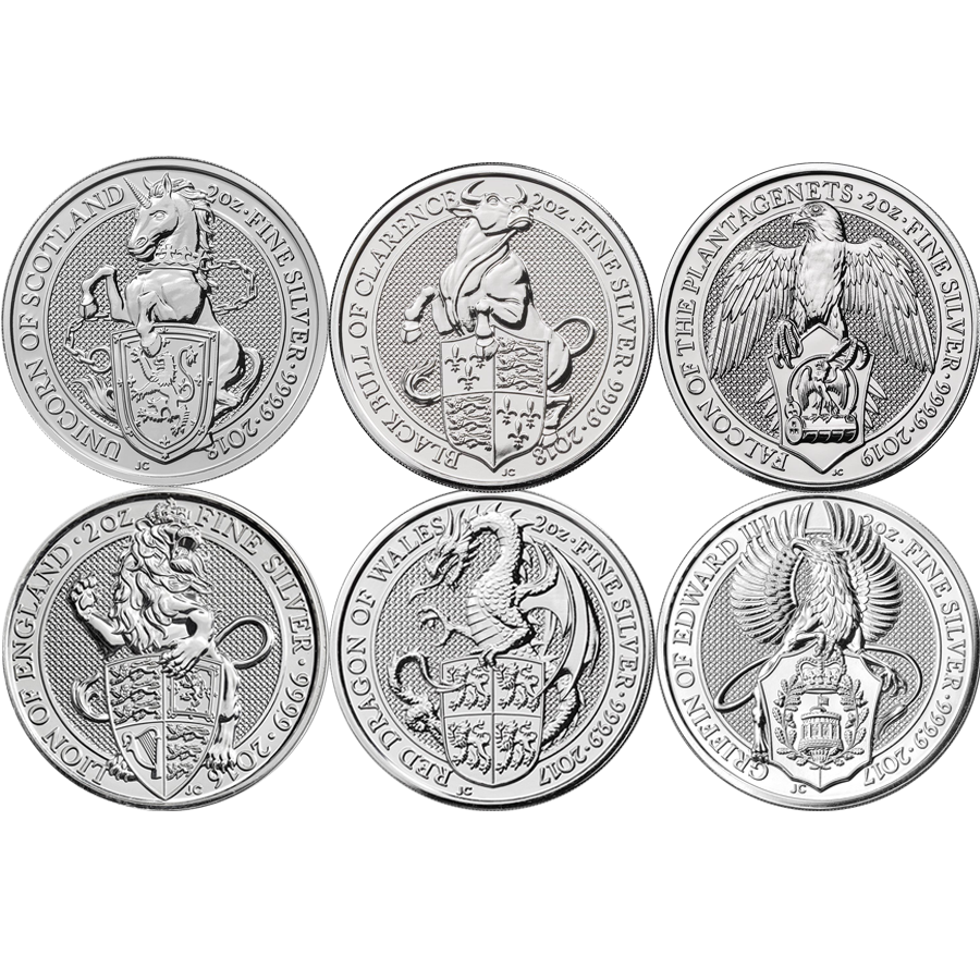 2016 - 2019 UK Queen's Beasts Lion, Griffin, Dragon, Unicorn, Bull & Falcon 2oz Silver Coin Set (Image 1)
