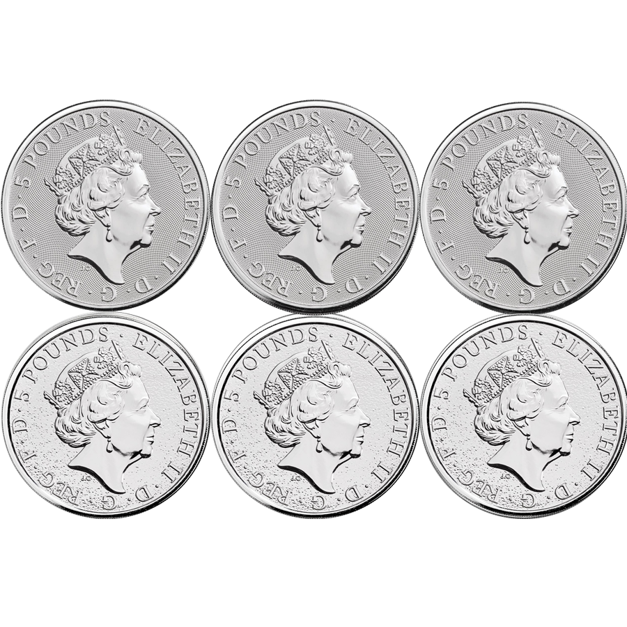 2016 - 2019 UK Queen's Beasts Lion, Griffin, Dragon, Unicorn, Bull & Falcon 2oz Silver Coin Set (Image 2)